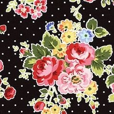 Lakehouse dry Goods - pam kitty love - floral on dots