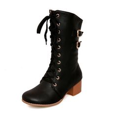 AllhqFashion Women's Round Closed Toe Kitten-Heels Soft Material Low-top Solid Boots * Trust me, this is great! Click the image. : Over the knee boots