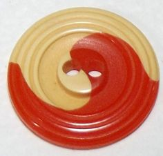 Vintage Button Bakelite Cream & Orange cookie