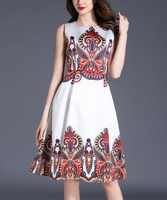Loving this White & Red Abstract Geo A-Line Dress on #zulily! #zulilyfinds