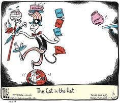 The Cat in the Hat is so iconic that the great editorial cartoonist Tom Toles uses him to represent Uncle Sam here.