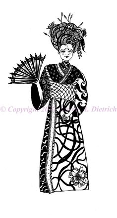 Black and White Art Pen and Ink Art Woman Geisha Signed 8 x 10 Print Home Decor Design Drawing