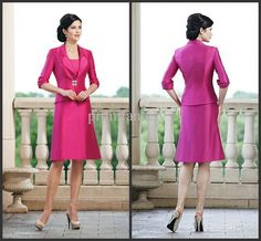 Wholesale 2013 Cheap Fuchsia Taffeta A-Line Knee Length Strapless Sexy Mother Dresses with Long Sleeves Jacket, Free shipping, $113.02-136.34/Piece   DHgate#s13-38-null