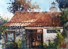 """Daniel Arteta """"Fondo....casa de los Suspiros"""" 28 x 38 cm Calle de los Suspiros Colonia del Sacramento - Uruguay"""