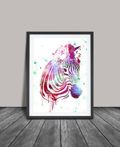 Zebra Watercolor Art Print Zebra Wall Art by FineArtCenter on Etsy