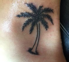 Palm tree tattoo Inner ankle
