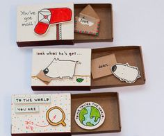 Inspired by the elements of greeting cards, gift boxes, and miniatures, these tiny cards are hand-crafted from real matchboxes and hand colored individually to give each of them that very personalized feel. But the best part has to do with the connection Matchbox Crafts, Matchbox Art, Cute Crafts, Diy And Crafts, Diy Cadeau, Diy Cards, Paper Crafting, Diy Paper, Diy Gifts