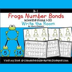 50% off for 24 hrs~(until 11:59 PM EST 03/08/17) Frogs Write the Room Number Bonds (Missing Sums 1-20) SpringThis resource includes five pages of numbered cards in color with a total of 30 cards. Each numbered card has a number bond with the sum missing.