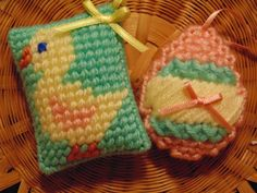Baby Chick and Egg Needlepoint Ornaments Set of TWO by BunniesMadeOfBread on Etsy