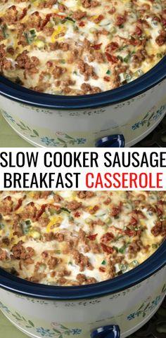 Breakfast Items, Breakfast Dishes, Breakfast Recipes, Slow Cooker Breakfast, Breakfast Casserole Sausage, Slow Cooker Recipes, Crockpot Recipes, Cooking Recipes, Crockpot Dishes