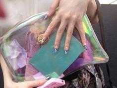iridescent vinyl clutch