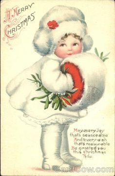 A Merry Christmas Series 505 May Every Joy that's seasonatie And every wish that's reasonable Be granted you this Christmas Tide Vintage  postcard