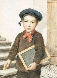 Albert Anker - Schoolboy With Slate (Schulknabe Mit Schiefertafel)
