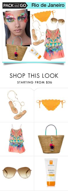 """""""Don't Blame it on Rio"""" by magic-pudding ❤ liked on Polyvore featuring Marysia Swim, Camilla, Caffé, Jimmy Choo, La Roche-Posay, women's clothing, women's fashion, women, female and woman"""