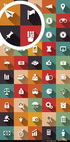This set contains 50 icons, with drop shadow effect, of some common objects and symbols in the business and financial world: credit cards, graphics, currency symbols, executive man, money bag, and a lot more. These are recommended for using in websites and articles related to these themes, infographics, signs, etc. High quality JPG included. Under Commons 4.0. Attribution License.