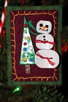 Snowman And Christmas Tree Holiday Hand Made Pin or Brooch @wyverndesigns