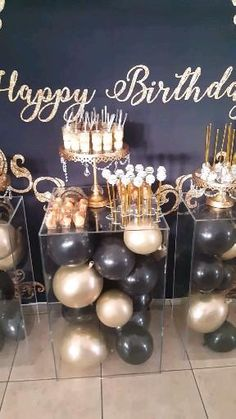 Black and Gold Birthday Party in Orlando, dessert table with balloon decor and backdrop. Birthday Party Decorations For Adults, Dessert Table Birthday, Gold Birthday Party, 30th Birthday Parties, Birthday Dinners, Birthday Decor For Him, Birthday Ideas For Women, Instagram Birthday Party, Gold Dessert Table