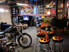 "Harley Bar    This converted garage is a great hang-out after a long ride on your Hog.    Key Features:  Humidor  Beer Fridge  46"" LCD TV  Gaming System  Custom Bar with glass top"