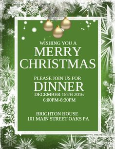 Merry Christmas Dinner Poster Template  Christmas Poster