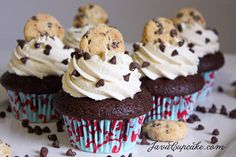 Chocolate chocolate chip cookie cupcakes