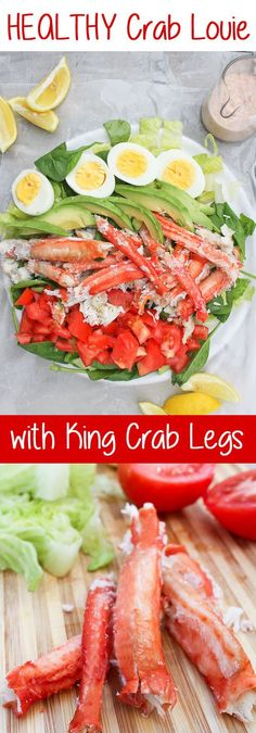 ad This King Crab Louie Salad is a lighter version of the classic Crab Louie (or Crab Louis), and is topped with steamed king crab and a spicy yogurt dressing. Sea Food Salad Recipes, Seafood Pasta Recipes, Shellfish Recipes, Seafood Salad, Seafood Dinner, Dinner Salads, Fish And Seafood, Salmon Recipes, Healthy Recipes
