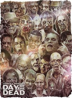 """Zombie Movie Poster Art : George A. Romero's """"Day Of The Dead"""" by Simon Carpenter Horror Movie Posters, Movie Poster Art, Horror Movies, Zombie Movies, Scary Movies, 1980's Movies, Day Of The Dead Artwork, Horror Themes, Horror Pictures"""
