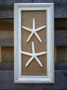 Cottage Chic Framed Sea Shells Home Decor, Framed Starfish Wall Art, Starfish Decor, Coastal Decor, Sea Decor,Beach Wall Art on Etsy, $26.99