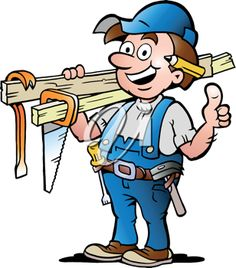 iCLIPART - Hand-drawn Vector illustration of an Happy Carpenter Handyman