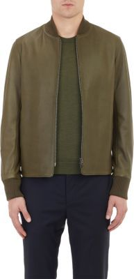 Officine Generale Leather Bomber Jacket at Barneys Warehouse