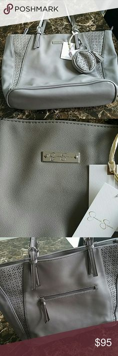 "Jessica Simpson Purse Name: Celeste  Color: Fog/Silver  Brand New!!!  Approximate Measurements: 12"" X 13"" X 5"" Jessica Simpson Bags Shoulder Bags"