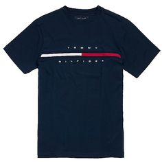 HILFIGER LOGO TEE ❤ liked on Polyvore featuring tops, t-shirts, shirts, tees, tommy hilfiger, shirts & tops, blue top, logo tee, blue shirt and t shirts