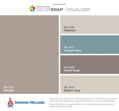 Warm gray paint colors to go with my teal bedding - Sherwin-Williams: Palisade, Pediment, Tranquil Aqua, Poised Taupe, Modern Gray Exterior Paint Colors For House, Interior Paint Colors, Paint Colors For Home, Exterior Colors, Decor Interior Design, House Colors, Taupe Paint Colors, Gray Paint, Exterior Paint Schemes