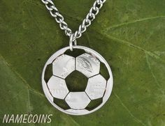 Soccer Necklace, Sports Gifts For Boys and Girls, soccer mom, Specific State Quarter, hand cut coin Soccer Necklace, Coin Necklace, Coin Jewelry, Unique Jewelry, Coin Crafts, Soccer Accessories, Custom Coins, Coin Art, Coin Ring