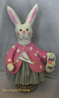 Sweet Bunny Pinkeeper/Decoration (Several availaible)       Sweet Bunny Pinkeep/Decor $ 44.95 each       Priority Shipping and Handling $ 5.95 each     Email me to order: elonasoriginals@sbcglobal.net