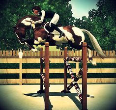 This is a sims 3 paint horse jumping like a pro!! :)