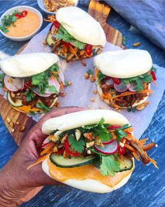 Hoisin Pulled Chicken w/ Bao Buns - The Spiced Chickpea Chicken Buns, Pulled Chicken, Chicken Thighs, Vegetarian Stuffing, Vegetarian Recipes, Cooking Recipes, Wonton Recipes, Chicken Recipes, Pork Belly Recipes
