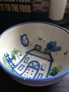 Hadley Pottery makes this colander. I have plenty of colanders that stay in a drawer but this one is too pretty!