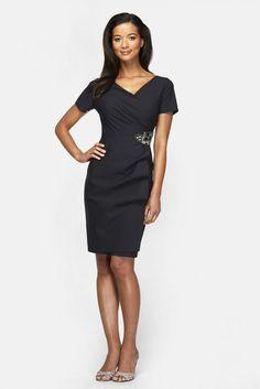 Alex Evenings Embellished Jersey Faux Wrap Dress