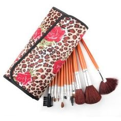Professional Makeup Cosmetic Brush Set with Fashion Leopard Spotted Pouch, 12 Count --- http://bizz.mx/104x