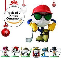 Set of 7 Hanging Christmas Ornament Golf Characters Christmas Tree Decoration Includes Stand by Be The Ball 4U ** Click on the image for additional details. (This is an affiliate link)