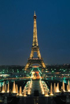 Eiffel Tower from Champs de Mars by Night, Paris