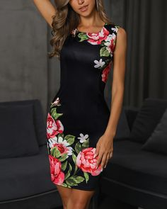 Shop Floral Print Sleeveless Bodycon Pencil Dress – Discover sexy women fashion at IVRoseV-Neck Floral Print Ruffles Design DressShop Sexy Trending Dresses – Chic Me offers the best women's fashion Dresses deals Look Fashion, Womens Fashion, Girl Fashion, Ladies Dress Design, Floral Prints, Fashion Dresses, Bodycon Dress, Clothes For Women, Pencil Dresses