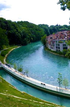 Aar River, Switzerland. I love how they have allocated a section for swimming.