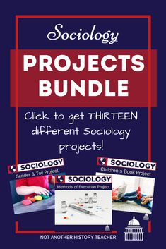 Enhance your Sociology class with this comprehensive year-long project bundle! Included are 13 highly engaging projects for any sociology course. It contains 13 EDITABLE, easy to follow sociology activities in ONE package! Most activities include a rubric to make grading easier! #sociology #notanotherhistoryteacher