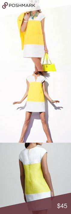 Bright Yellow Kate Spade Shift Dress Gorgeous yellow Kate Spade yellow and white color block shift dress. Style with your favorite wedges (like my Tory Burch yellow and gold ones) and hit the town! Perfect for these extended summer days. Worn only a handful of times and is in great shape. May need some TLC with the steamer -just taken out of storage. Happy Poshing! 💗 kate spade Dresses