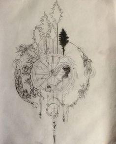 Compass Tattoo Design series part 1 WIP by Salix-Tree