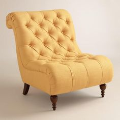 With its armless Victorian-inspired silhouette, our Honey Gold Devon Chair reminds us of something you& find in a fancy hotel. Featuring a rolled back and spacious seat, this cheery yellow slipper chair is the very picture of comfort and elegance. Living Room Accents, Accent Chairs For Living Room, Formal Living Rooms, Living Room Furniture, Cozy Furniture, Coastal Furniture, Furniture Stores, Bd Design, Slipper Chairs
