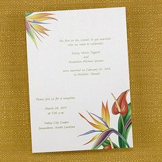 Tropical Flowers Invitation - Wedding Invitation Ideas - Wedding Invites - Wedding Invitations - Create a FREE Proof Online - Order Sample Invitations Casual Wedding Invitations, Engagement Invitation Cards, Unique Wedding Stationery, Holiday Party Invitations, Birthday Invitations, Flower Invitation, Invitation Ideas, Personalized Invitations, Tropical Flowers