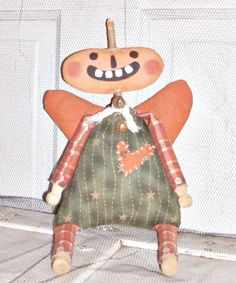Whimsy Fall Halloween Angel Pumpkin Doll by FosterChildWhimsy